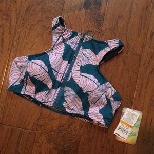 HOBIE bikini zip up high neck swim top
